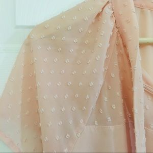 Forever 21 Tops - Forever 21 Pale Blush Pink Front Tie Blouse EUC